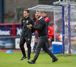 Motherwell's manager Stephen Robinson. half time : Dundee 0 v 0 Motherwell, SPFL Ladbrokes Premiership game played 1/9/2018 at Dundee's Kilmac stadium Dens Park