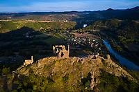France, Haute-Loire (43), Retournac, vestiges du château d'Artias, le plus ancien château du Velay dont la construction débuta en 1082, vallée de la Loire, (vue aérienne) // France, Haute-Loire (43), Retournac, remains of the castle of Artias, the oldest castle in Velay whose construction began in 1082, Loire valley, (aerial view)