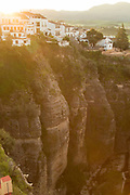 View of town at sunrise, Ronda, Andalusia, Spain