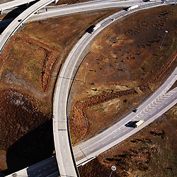 Aerial view of highways outside of Philadelphia