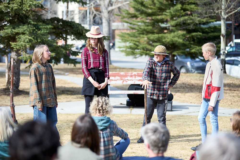 L-R<br /> Lewis Maddocks as Claudio.<br /> Nyah Myden-Friar as Margaret.<br /> Finegand Bradford as Leonato.<br /> Luka Krauzig as Don Pedro.<br /> <br /> Yukon Montessori School performed Shakespeare's Much Ado About Nothing in Helicopter Park on May 19 in Whitehorse, Yukon Canada.