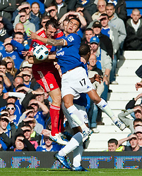 17.10.2010, Goodison Park, Liverpool, ENG, PL, Everton FC vs Liverpool FC, im Bild Liverpool's Sotirios Kyrgiakos and Everton's Tim Cahill during the 214th Merseyside Derby match at Goodison Park, EXPA Pictures © 2010, PhotoCredit: EXPA/ Propaganda/ D. Rawcliffe *** ATTENTION *** UK OUT!