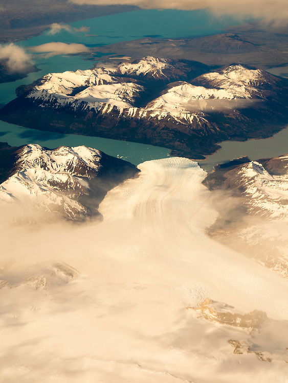 Aerial view of the Perito Moreno Glacier and Lago Argentino and the Patagonian Icefield, taken from a commercial airplane over the Argentinian Andes.