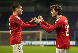 Målscorer Jonas Wind (Danmark) jubler med Joakim Mæhle efter scoringen til 1-0under venskabskampen mellem Danmark og Sverige den 11. november 2020 på Brøndby Stadion (Foto: Claus Birch).