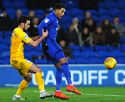 Nathaniel Mendez-Laing of Cardiff City is held back by Greg Cunningham of Preston North End- Mandatory by-line: Nizaam Jones/JMP - 29/12/2017 -  FOOTBALL - Cardiff City Stadium - Cardiff, Wales -  Cardiff City v Preston North End - Sky Bet Championship