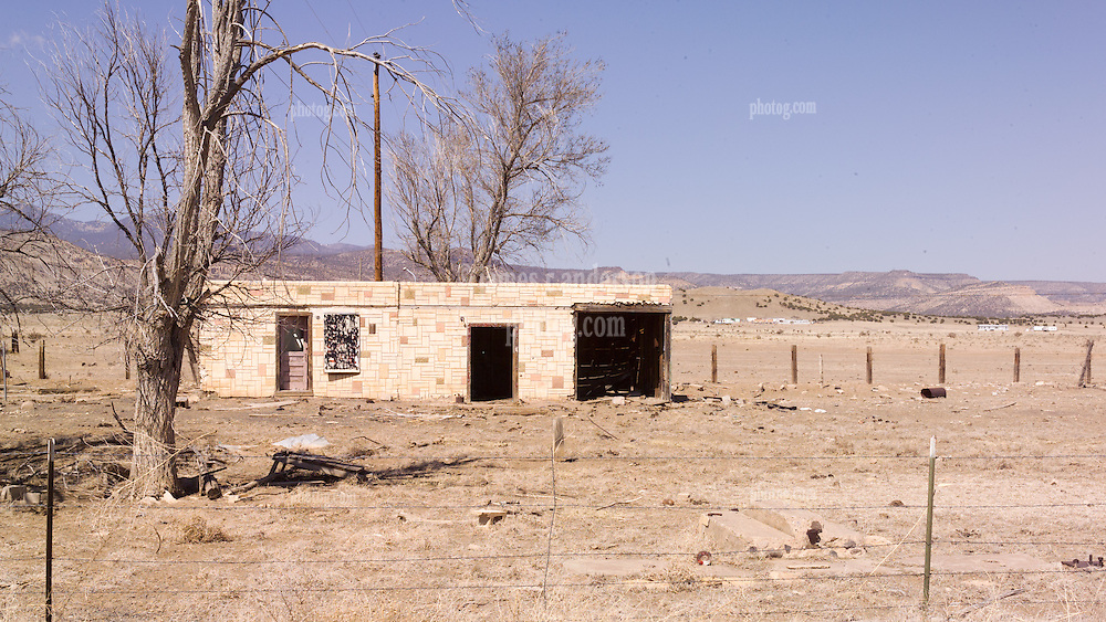 Abandoned Roadside Settlement Buildings along Historic US Route 66 Western New Mexico.