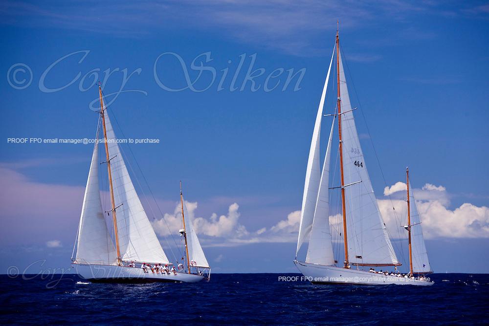 Peter von Seestermuhe and Mariella sailing in the Cannon Race at the 2011 Antigua Classic Yacht Regatta.