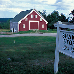 New Gloucester, ME.A sign for the Shaker Store in front of the barn at the Sabbathday Lake Shaker Village.