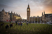 Climate campaign group 10:10 covered Parliament square outside the Houses of Commons with over 1000 whirling pin wheels highlighting public support for onshore wind power. As scientists declare 2016 the hottest year on record, campaigners are calling for government funds to be urgently redirected away from fossil fuels and to the development of clean energy. Parliament square, Westminster London. 17th November 2016. <br /> (photo by Andrew Aitchison)