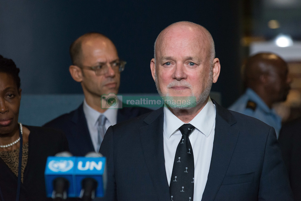 September 13, 2016 - New York, NY, United States - After presiding over the opening plenary session of the 71st United Nations General Assembly, General Assembly President Peter Thomson met with the press outside GA Hall at UN Headquarters. (Credit Image: © Albin Lohr-Jones/Pacific Press via ZUMA Wire)