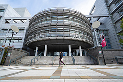 Exterior view of campus during covid-19 lockdown of Glasgow Caledonian University, Glasgow, Scotland, UK