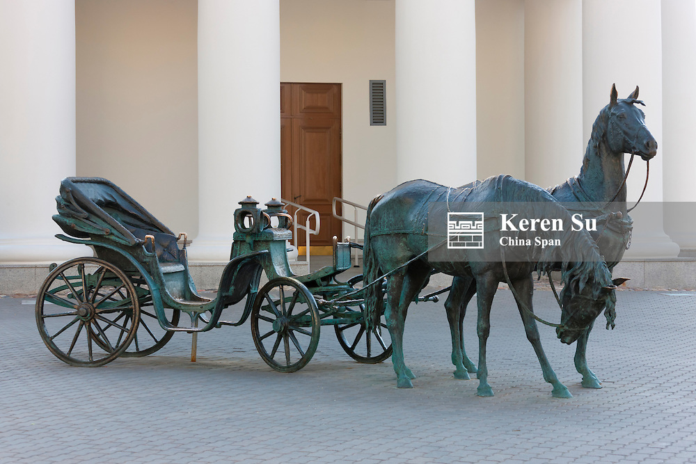 Bronze statue of horse carriage in front of Town Hall, Minsk, Belarus