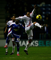 Photo: Steve Bond/Richard Lane Photography. Leicester City v Crystal Palace. E.ON FA Cup Third Round. 03/01/2009. Leandre Griffit stretches for the ball in front of Max Gradel