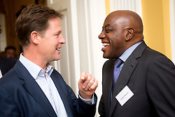 © Licensed to London News Pictures. 03/09/14. Admiralty House, Whitehall, London. Deputy Prime Minister Nick Clegg hosts a reception to celebrate his launch of the free school meals campaign with celebratory chef Ainsley Harriott in attendance. Photo credit : David Tett/LNP
