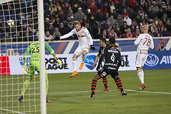 March 13, 2018 - Harrison, New Jersey, United States - Daniel Royer (77) of Red Bulls shoots on goal during Scotiabank Concacaf Champions League quarterfinal second leg game against Club Tijuana at Red Bull Arena Red Bulls won 3 - 1 (5 - 1 on aggregate) (Credit Image: © Lev Radin/Pacific Press via ZUMA Wire)