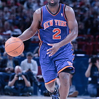 06 October 2010: New York Knicks guard Raymond Felton #2 brings the ball upcourt during the Minnesota Timberwolves 106-100 victory over the New York Knicks, during 2010 NBA Europe Live, at the POPB Arena in Paris, France.