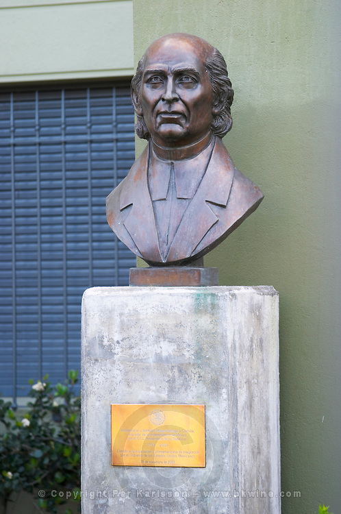 Statue bust in front of a military building close to Carlos Morales Street depicting the liberator Miguel Hidalgo y Costilla who initiated the independence of Mexico, born in 1753 Montevideo, Uruguay, South America