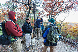 Hikers on Piedmont Ridge Trail overlook with fall color, Great Trinity Forest, Dallas, Texas, USA