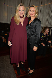 Left to right, ASTRID HARBORD and ROBERTA MOORE at a party to celebrate Stuart Semple as artist in residence at The Bulgari Hotel held at Il Bar, Bulgari Hotel, 171 Knightsbridge, London on 14th October 2015.