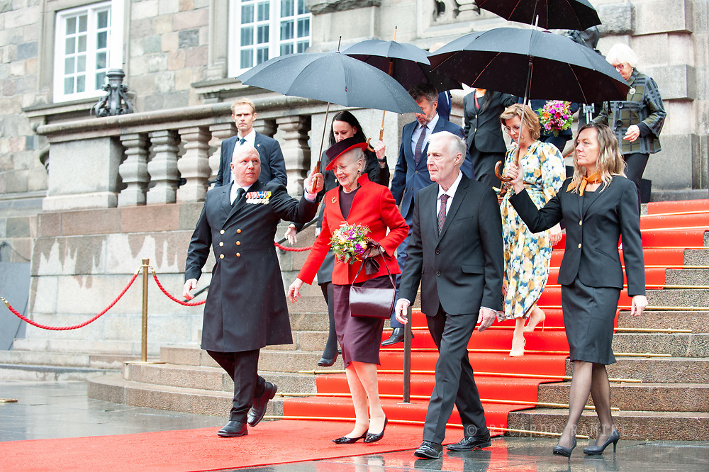05.10.2021. Copenhagen, Denmark.<br /> Queen Margrethe leaves the Danish Parliament at Christiansborg Palace in Copenhagen, Denmark.<br /> Photo: © Ricardo Ramirez