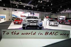 Chinese BAIC cars on display at the Dubai Motor Show 2013 United Arab Emirates
