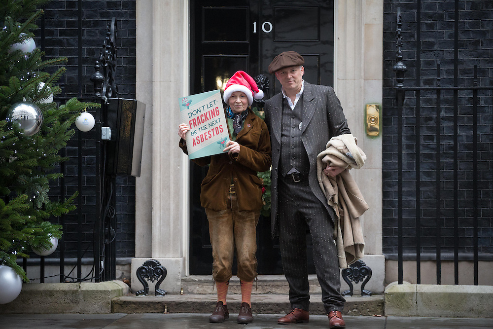 Dame Vivienne Westwood & son Joe Corre, deliver a letter to Prime Minister David Cameron on Thursday 18, 2014. <br /> The let is drive home the dangers of Fracking to the British public on Thursday 18th December 2014.<br /> <br /> The Government's own chief scientist, Professor Sir Mark Walport, in his recently published Walport Report compared the potential dangers posed to the British public by fracking with asbestos and thalidomide.<br />  <br /> Photos by Ki Price
