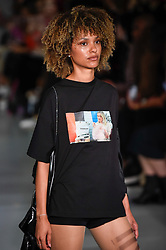 © Licensed to London News Pictures. 13/09/2019. LONDON, UK.  A model presents a look by Matilda Book of Swedish School of Textiles during Fashion Scout SS20, an off schedule show at Victoria House in Bloomsbury Square, on the opening day of London Fashion Week.  Photo credit: Stephen Chung/LNP