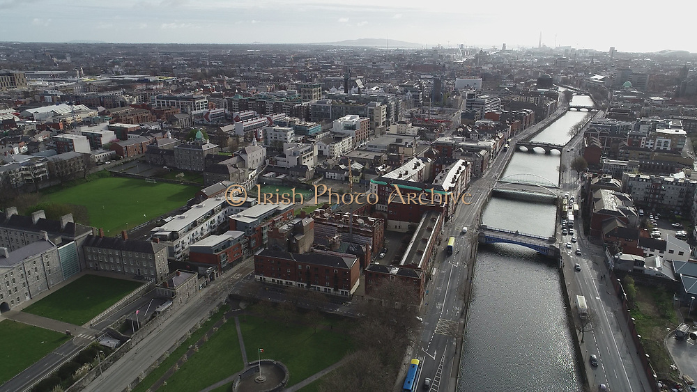 Aerial Photos of Dublin city Centre During Travel Restrictions, 3-4-20, 3rd March 2020, Covid 19, Friday Morning, Rush Hour, showing almost, Empty Streets, as people, curtail all but essential movement, Ireland, and Irish are doing their best to reduce risk to others, Collins Barracks, Law Society, Blackhall Place, Smithfield, Rory O'More James Joyce, Liam Mellows, Fr Matthew Bridge, Ushers Island, liffey Photos, Photo, Snap, Streets, Street,
