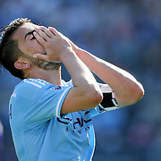 NEW YORK, NEW YORK - May 29:  David Villa #7 of New York City FC after a missed chance during the New York City FC Vs Orlando City, MSL regular season football match at Yankee Stadium, The Bronx, May 29, 2016 in New York City. (Photo by Tim Clayton/Corbis via Getty Images)