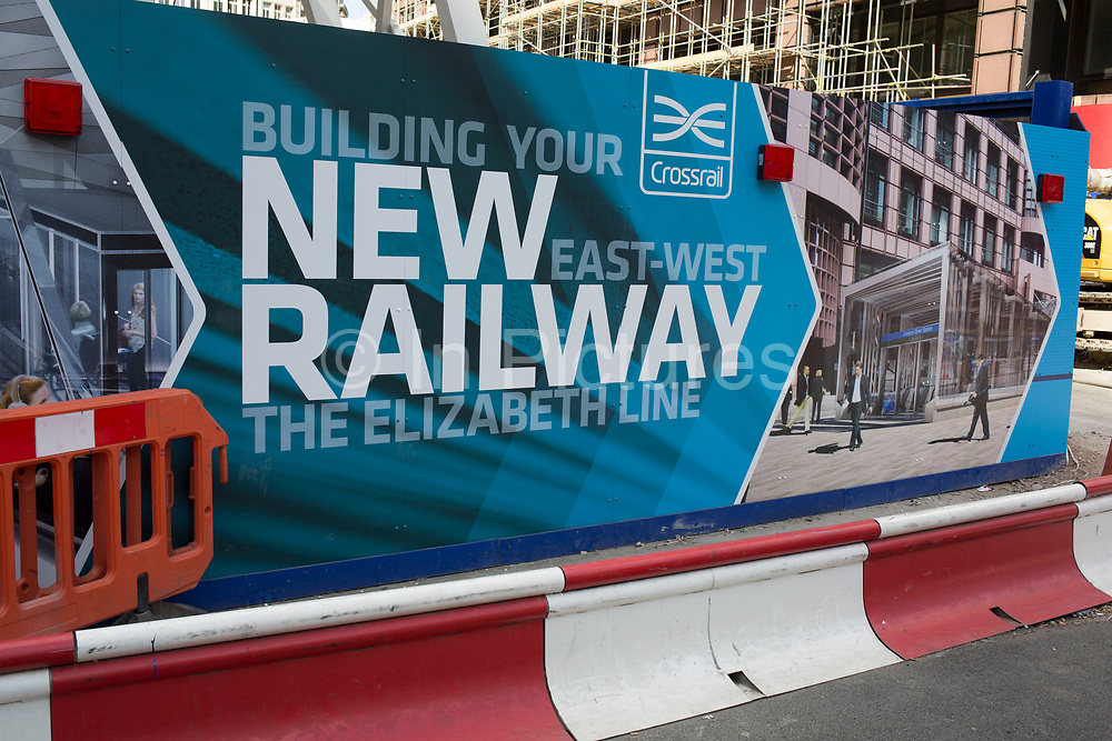 Sign for Crossrail and the Elizabeth Line at Liverpool Street, the multi million pound rail development which will join East and West London, England, United Kingdom.