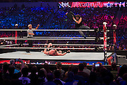Dean Ambrose jumps off the rope onto Brock Lesnar during WrestleMania on April 3, 2016 in Arlington, Texas.