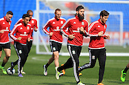 Joe Ledley (2nd right)  of Wales in action during the Wales football team training at the Cardiff City Stadium in Cardiff, South Wales on Wed 23rd March 2016. The team are preparing for their forthcoming friendly against Northern Ireland.<br /> pic by  Andrew Orchard, Andrew Orchard sports photography.