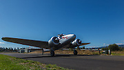 A 1937 Lockheed Electra 12A taxis into the 2013 Hood River Fly In at WAAAM.
