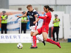 Falkirk's Alex Cooper and Rangers Bilel Moshsni. Falkirk 0 v 2 Rangers, Scottish Championship game played 15/8/2014 at The Falkirk Stadium.