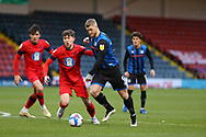 Stephen Humphrys of Rochdale (9) shoots  during the EFL Sky Bet League 1 match between Rochdale and Wigan Athletic at the Crown Oil Arena, Rochdale, England on 16 January 2021.