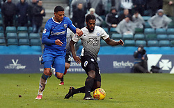 Anthony Grant of Peterborough United comes under pressure from Bradley Garmston of Gillingham - Mandatory by-line: Joe Dent/JMP - 10/02/2018 - FOOTBALL - MEMS Priestfield Stadium - Gillingham, England - Gillingham v Peterborough United - Sky Bet League One