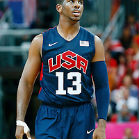 06 August 2012: USA Chris Paul rests during 126-97 Team USA victory over Team Argentina, during the men's basketball preliminary, at the Basketball Arena, in London, Great Britain.