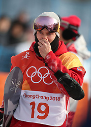 Great Britain's Billy Morgan after crashing out in run 2 of qualification for Men's Snowboard Slopestyle the PyeongChang 2018 Winter Olympic Games in South Korea.