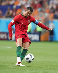 SARANSK, June 25, 2018  Cristiano Ronaldo of Portugal competes during the 2018 FIFA World Cup Group B match between Iran and Portugal in Saransk, Russia, June 25, 2018. (Credit Image: © Ye Pingfan/Xinhua via ZUMA Wire)