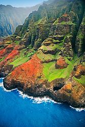 Open-ceiling cave backed by Honopu Valley, Na Pali coast, Kauai, Hawaii, Pacific Ocean