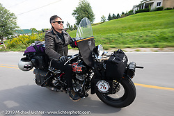 Jeff Milburn riding his Class II 1937 Harley-Davidson WL 750cc Flathead in the Cross Country Chase motorcycle endurance run from Sault Sainte Marie, MI to Key West, FL (for vintage bikes from 1930-1948). Stage 2 from Ludington, MI to Milwaukee, WI, USA. Saturday, September 7, 2019. Photography ©2019 Michael Lichter.