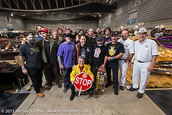 Group photo of invited builders and guests to the 24th Annual Mooneyes Yokohama Hot Rod & Custom Show. Yokohama, Japan. December 6, 2015.  Photography ©2015 Michael Lichter.
