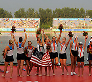 Shunyi, CHINA. GBR M8+,  Women's eights final, Gold medalist USA W8+,  (b)CAFARO Erin, SHOOP Lindsay<br /> GOODALE Anna, LOGAN Elle, CUMMINS Anne, FRANCIA Susan, LIND Caroline, DAVIES Caryn and cox, WHIPPLE Mary.<br /> . Awards Dock.  at the 2008 Olympic Regatta, Shunyi Rowing Course.  17/08/2008 [Mandatory Credit: Peter SPURRIER, Intersport Images