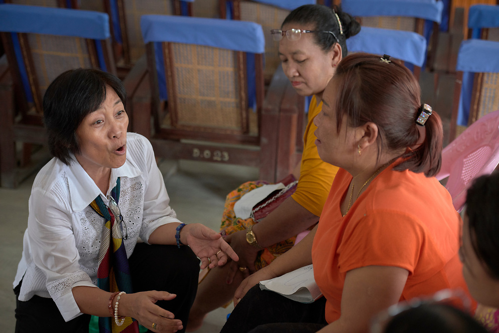 Participants explore the relation between physical and spiritual health during an ecumenical workshop on women's empowerment in Kalay, Myanmar. The workshop was sponsored by the Women's Department of the Myanmar Council of Churches and led by Emma Cantor (left), a regional missionary for United Methodist Women.