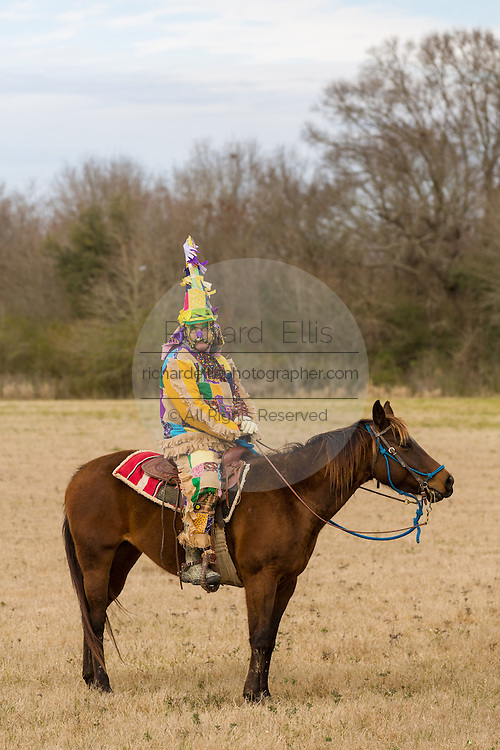 A costumed reveler on horseback during the Mamou Courir de Mardi Gras chicken run on Fat Tuesday February 17, 2015 in Mamou, Louisiana. The traditional Cajun Mardi Gras involves costumed revelers competing to catch a live chicken as they move from house to house throughout the rural community.
