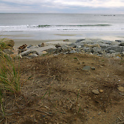 Rock wall protecting dunes from high tides. Biddeford Pool, Maine, 2008.