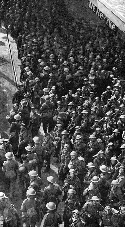 Operation Dynamo:  British troops safely back in  a home port, some of the 338,226 British, French and Belgian men  evacuated from Dunkirk 27 May to 3 June, saved from the German advance in France.