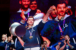 September 18, 2017 - Ljubljana, Slovenia, Slovenia - Goran Dragic celebrate after Slovenian basketball team historical win in European Championship in Istanbul on September 18, 2017 in Ljubljana, Slovenia. (Credit Image: © Damjan Zibert/NurPhoto via ZUMA Press)