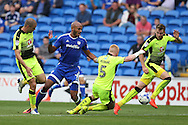 Frederic Gounongbe © is fouled in the box by Reading's Paul McShane (5) but no penalty is awarded .EFL Skybet championship match, Cardiff city v Reading at the Cardiff city stadium in Cardiff, South Wales on Saturday 27th August 2016.<br /> pic by Andrew Orchard, Andrew Orchard sports photography.