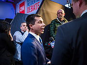 """14 JANUARY 2020 - DES MOINES, IOWA: Former mayor PETE BUTTIGIEG talks to a reporter from Fox News in the """"spin room"""" at the CNN Democratic Presidential Debate on the campus of Drake University in Des Moines. This is the last debate before the Iowa Caucuses on Feb. 3.    PHOTO BY JACK KURTZ"""